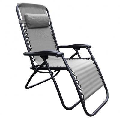 Kerti fotel, állítható, világosszürke - AU SOLEIL